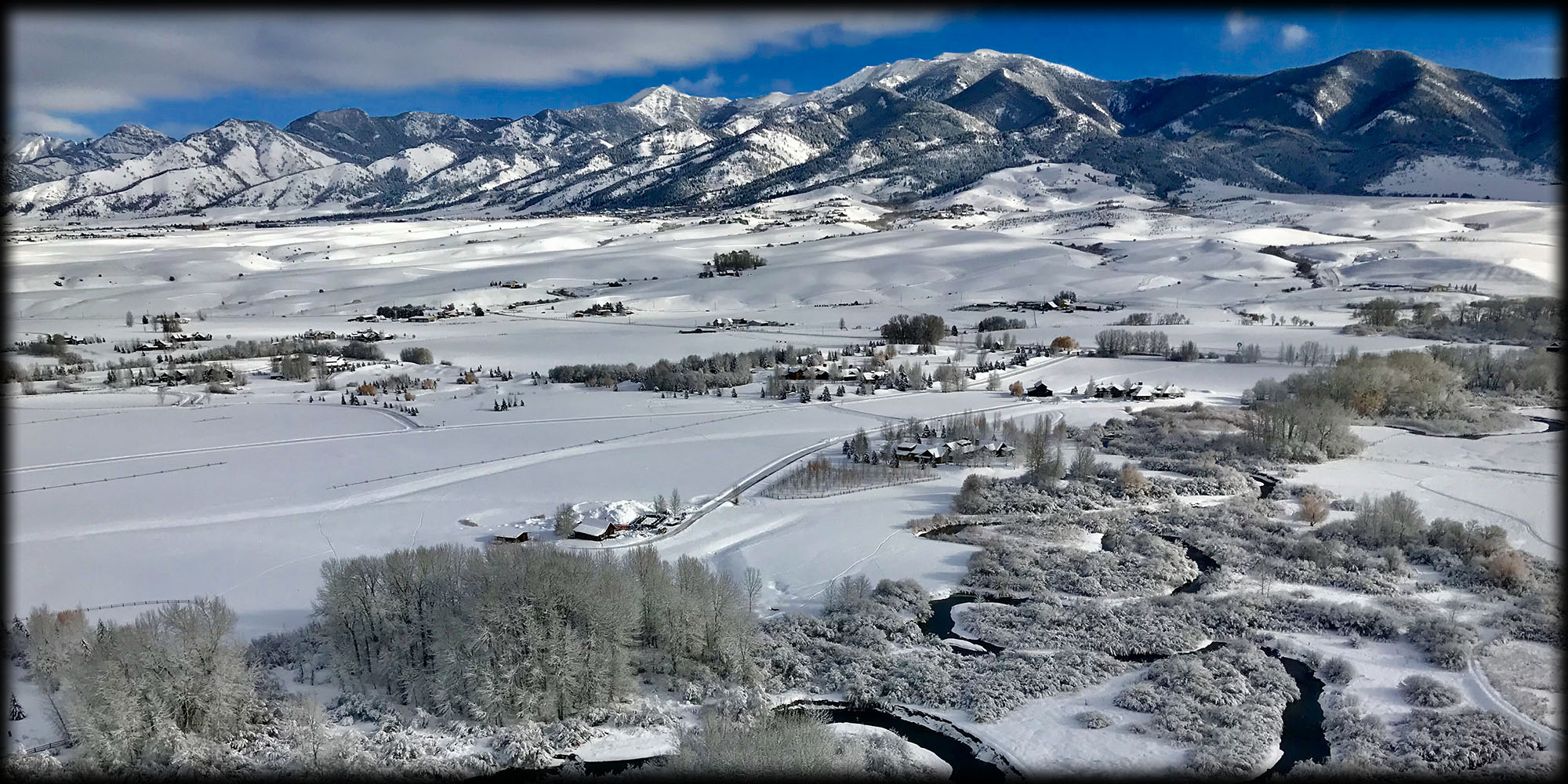 Bozeman Montana Hot Air Balloon Winter View